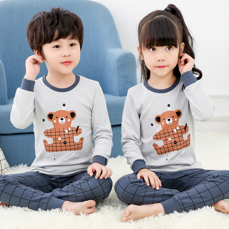 Autumn Pyjamas Kids Cotton Pajamas For Boys Cartoon Pijamas Children Casual Sleepwear Homewear Pajamas Girls Cute Pyjama Baby