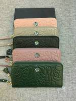 Genuine Leather Wallet female Long Clutch Purse Card Coin Holder Classic Rose Flower Real Cow Leather Taseel Phone Wallets