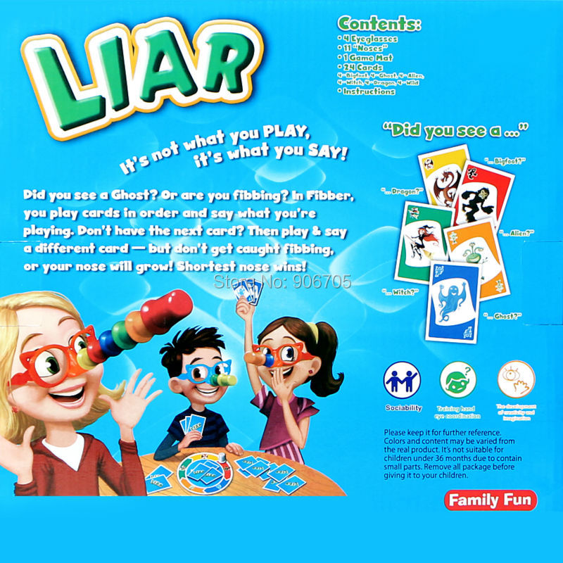 Liar Fibber Game Set Hilary Noses & Glasses Stretch The Truth and Your Nose May Grow 2-4 Players Great Family Fun Toys