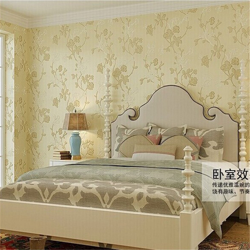 beibehang of wall paper European Pastoral Non-Woven Wallpaper Flocking Floral Wall Paper Roll papel parede contact paper beibehang european personality pastoral
