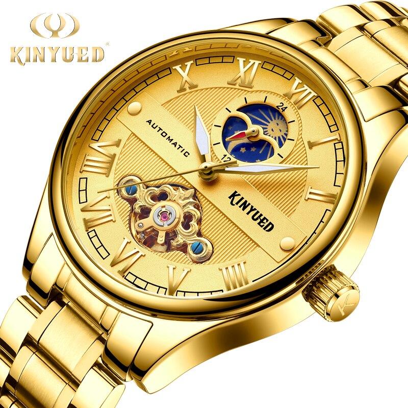 e065a591026 KINYUED Fase Da Lua Tourbillon Relógios de Ouro Relógio Automático Dos  Homens Mecânicos Auto-Vento Homens de Negócios de Aço Cheio Relogio de Luxo