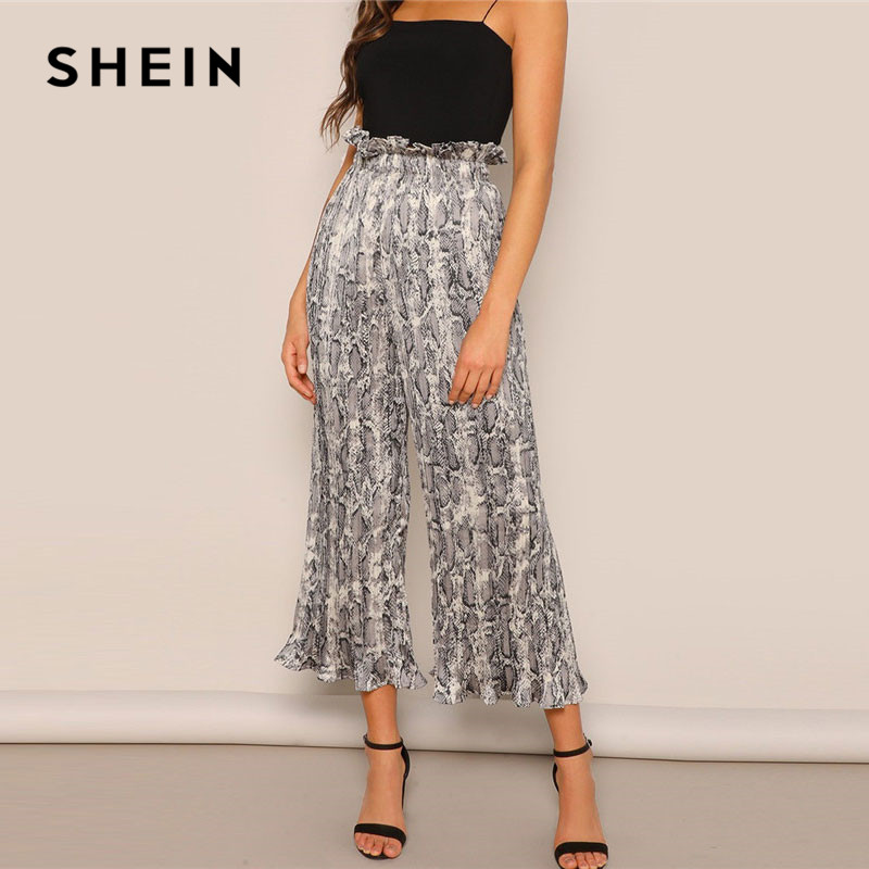 SHEIN Lady Loose Highstreet Ruffle Waist Snakeskin Print Wide Leg Pants 2019 Spring Women Casual High Waist Crop Trousers