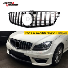 Racing Grille for Mercedes W204 GT Grille ABS material Black Silver Color Bumper Grill For Benz C Class C300 C350 2009-2014 все цены