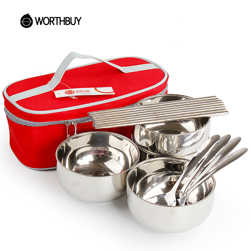 WORTHBUY Portable Outdoor Tableware Set Family Dinnerware Set With Stainless Steel Portable Bag For Kids Camping Picnic Set