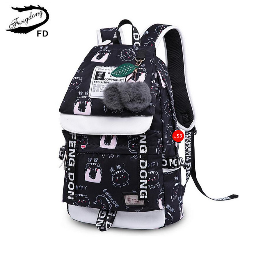 FengDong school bags for teeange girls cute Chinese characters printing backpack black cartoon bag to school children backpacks