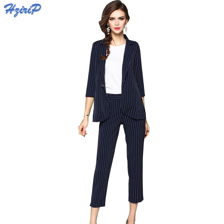 Hzirip Autumn Work Wear Women Pants Suit 2017 Fashion Elegant Formal Striped Blazer Set For ...