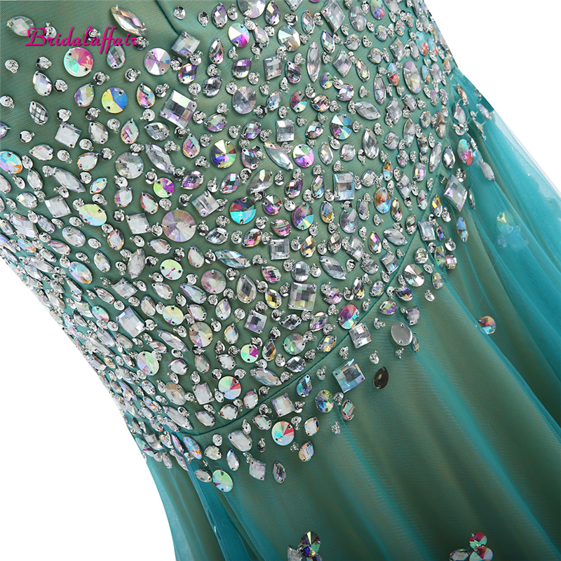 BridalaffairReal Photo Green Tulle Luxury Beads and Crystal Deep V Neck Mermaid Prom Dresses 2017 Sweep Train Party Evening Gown in Prom Dresses from Weddings Events