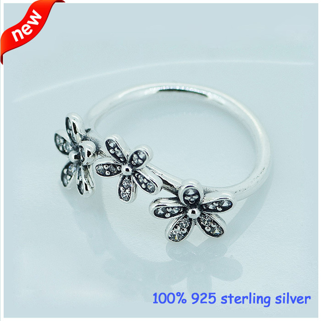 Compatible with European Jewelry Daisy Silver Ring with CZ Original 925 Sterling Silver Rings Women Jewelry Wholesale 08R037