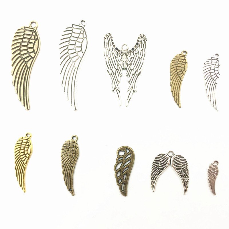 10Pcs Silver Bronze Gold Tone Bird Eagle Wing Animal Metal Pendants Jewelry DIY Making Findings Charms