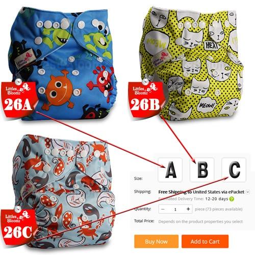 [Littles& Bloomz] Детские Моющиеся Многоразовые Тканевые карманные подгузники, выберите A1/B1/C1 из фото, только подгузники/подгузники(без вставки - Цвет: 26