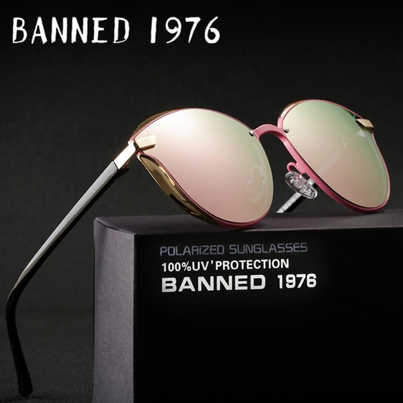 Запрещены 1976 Роскошные Для женщин Солнцезащитные очки для женщин Мода Круглый дамы Винтаж Ретро Брендовая Дизайнерская обувь негабаритных... ...