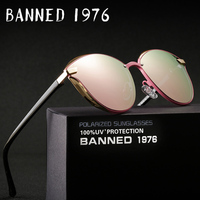 BANNED 1976 Luxury Women Sunglasses Fashion Round Ladies Vintage Retro Brand Designer Oversized Female Sun