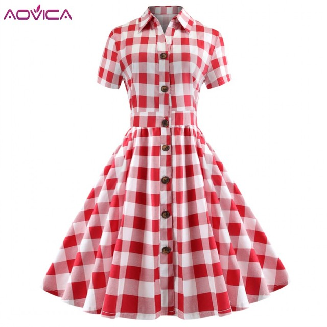 304d09a64aad7 Aovica Plaid Check Print Women Vintage 50s 60s 70s Dress Elegant Style Turn  Down Collar Short Sleeves Retro Dress Party Vestidos