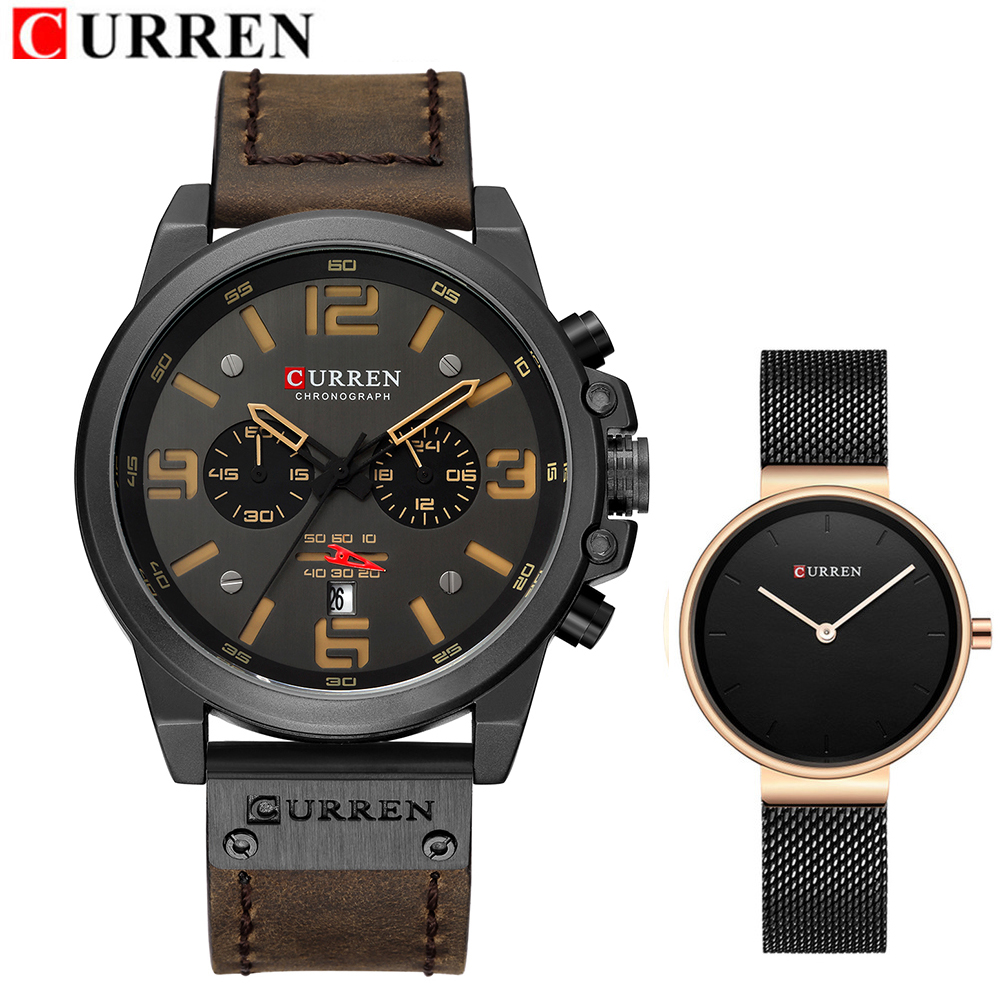 CURREN Lovers Women Watch Set Fashion Leather Steel Quartz Men Women Couple Watches Casual Business Male