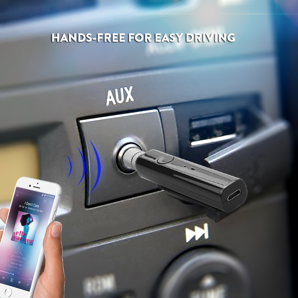 Tancredy Bluetooth Handsfree Car Kit Wireless Car Bluetooth Aux Audio Receiver Adapter 3.5mm