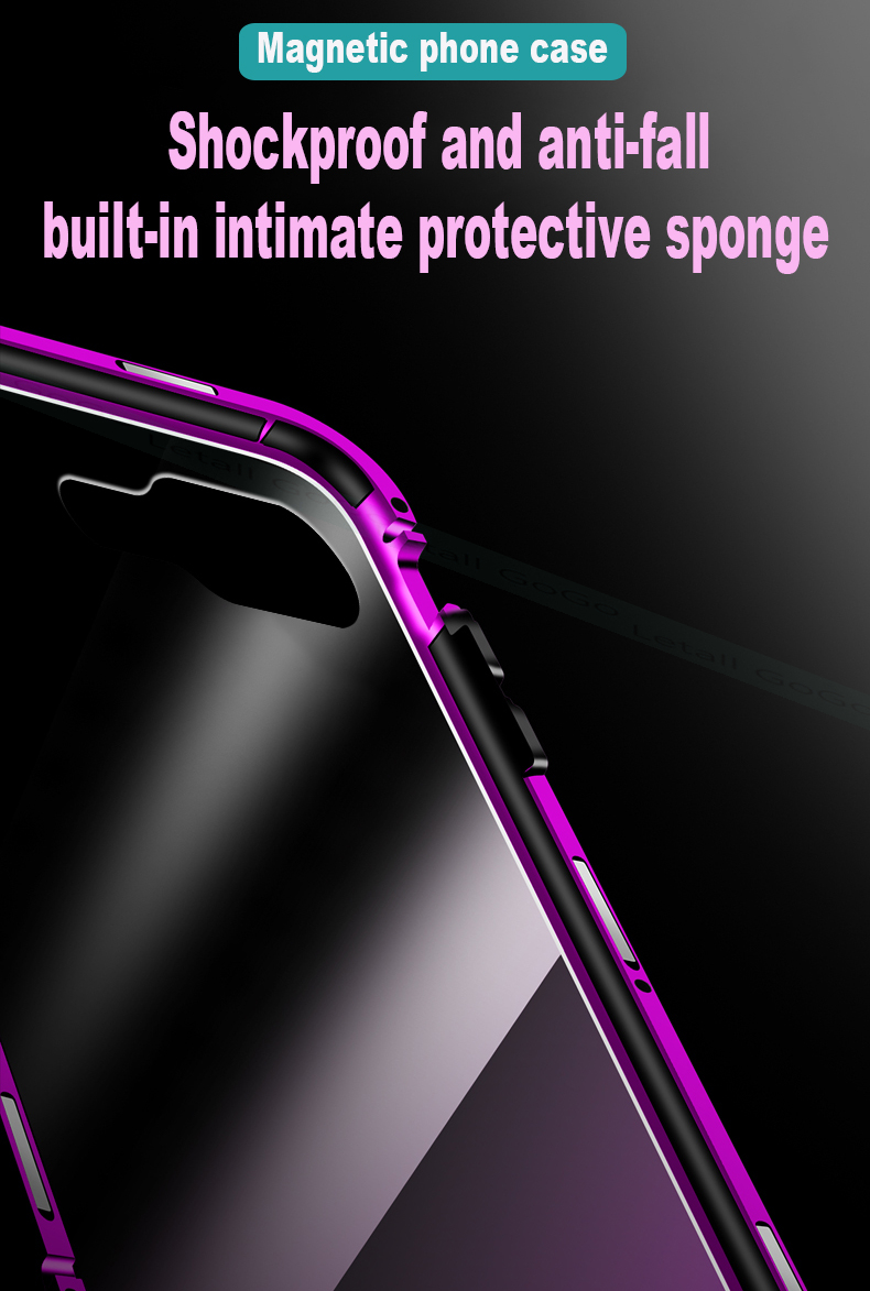 Magnetic clear  tempered glass Metal phone cover case (10)