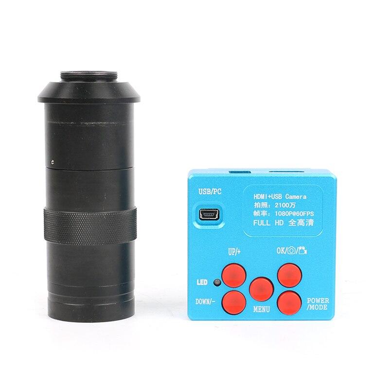 Digital HD 1080 p 21MP HDMI salida USB microscopio Cámara 130X 180X 300X C lente de montaje para microscopio estéreo video microscopio