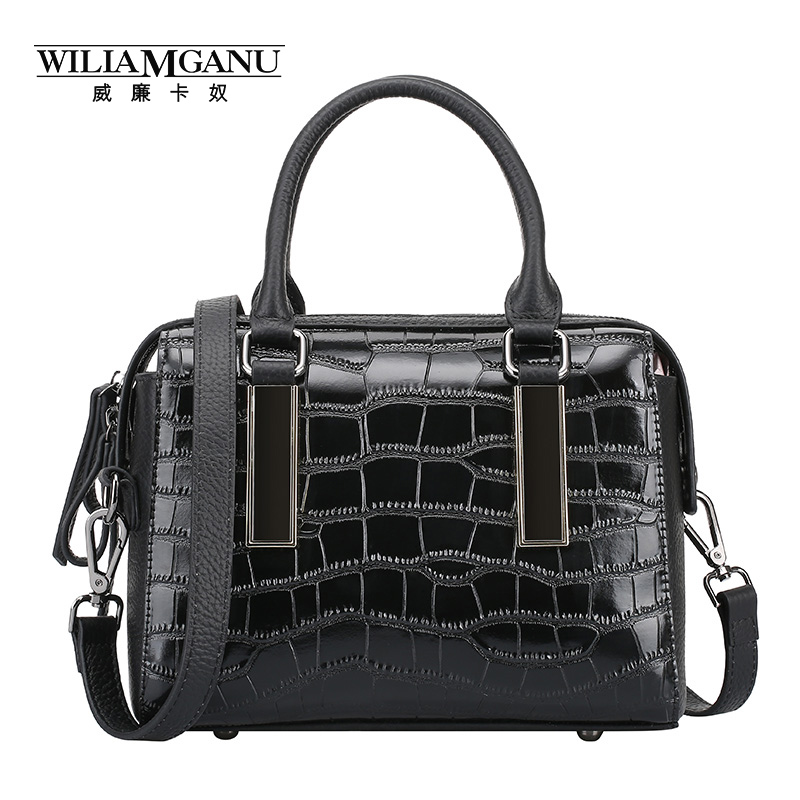 ФОТО WILIAMGANU 2017 new female Luxury Design Genuine leather cowhide color crocodile grain Boston handbag inclined shoulder bag