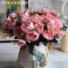 Avrupa Tarzı Mini Çay Gül Şakayık Buket ipek çiçek Yapay Simülasyon Çiçek Düğün Ev Dekorasyon