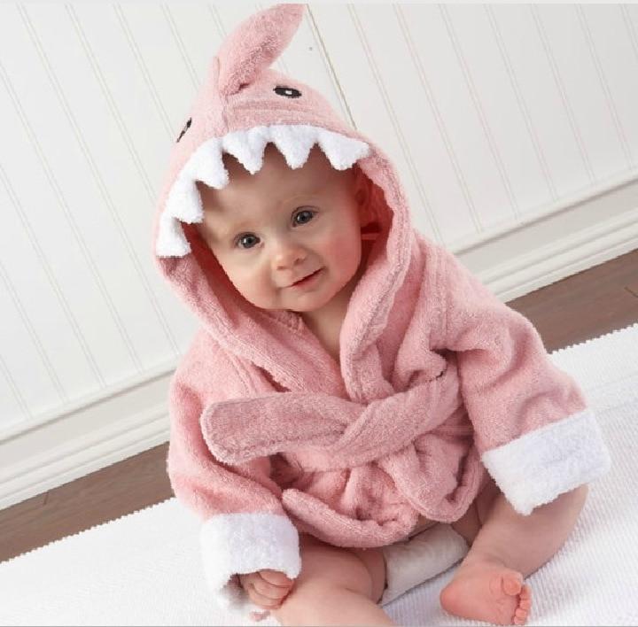 Baby Sleepwear Robes Infant hooded cartoon Shark full sleeve fleece baby romper Pajamas gown with waist belt newborn home wear