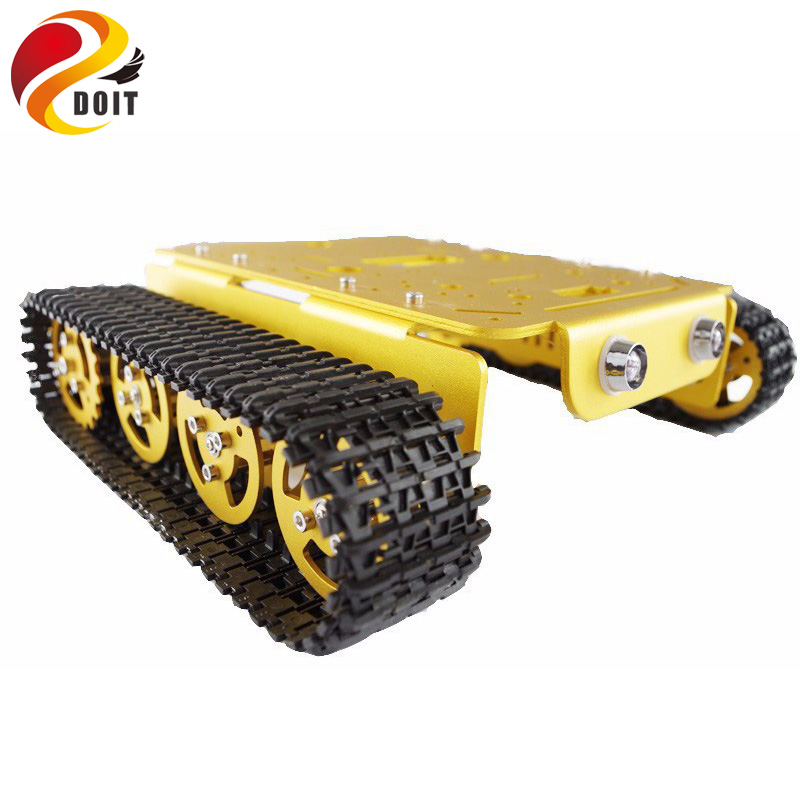DOIT Robot Tank Car Chassis All Metal Crawler Tracked Vehicle Robotic Model with Hall Sensor DIY Toy Track Caterpillar diy tracked vehicle robot obstacle crossing chassis smart tank car