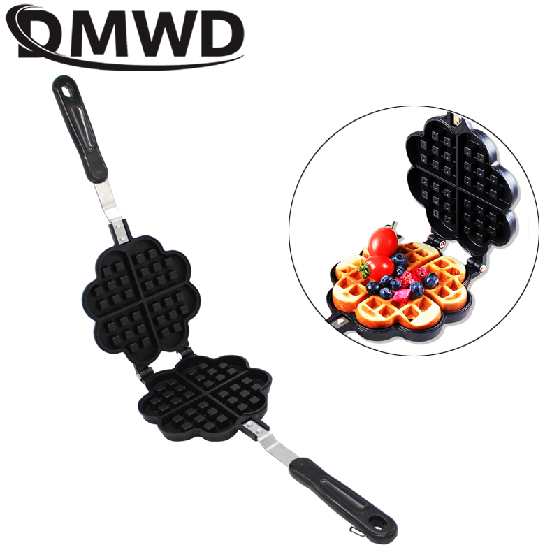 DMWD DIY Heart Shape Non-stick Eggs Waffle Pan For Gas Electric Muffin Machine Omelet Egg Pancake Mould Baked Cake Baking Mold