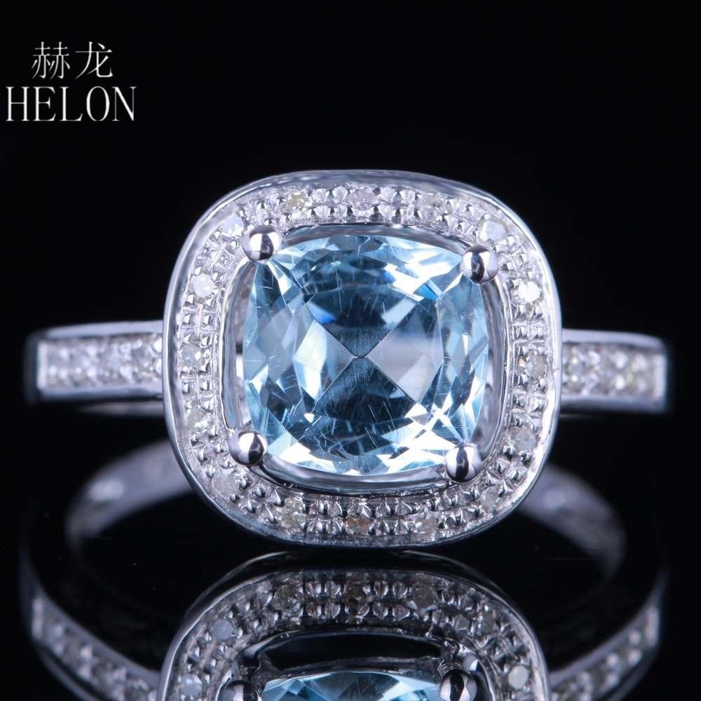 Женское Обручальное Кольцо HELON Solid 14 K, белое золото 7 мм, подушка 1,9ct Небесно Голубой топаз 0,17ct, обручальное кольцо с натуральными бриллиантам