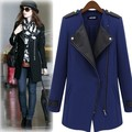 2016 winter Fashion jacket women Casual Negro/azul Contraste Cuero de LA PU Coat Recorta Oblicua de la Cremallera de la chaqueta casacos xxxl plus tamaño