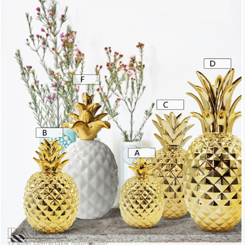 Nordic gold pineapple ins decoration living room furnishings interior home wine cabinet jewelry Home decor party ornaments craft in Figurines Miniatures from Home Garden