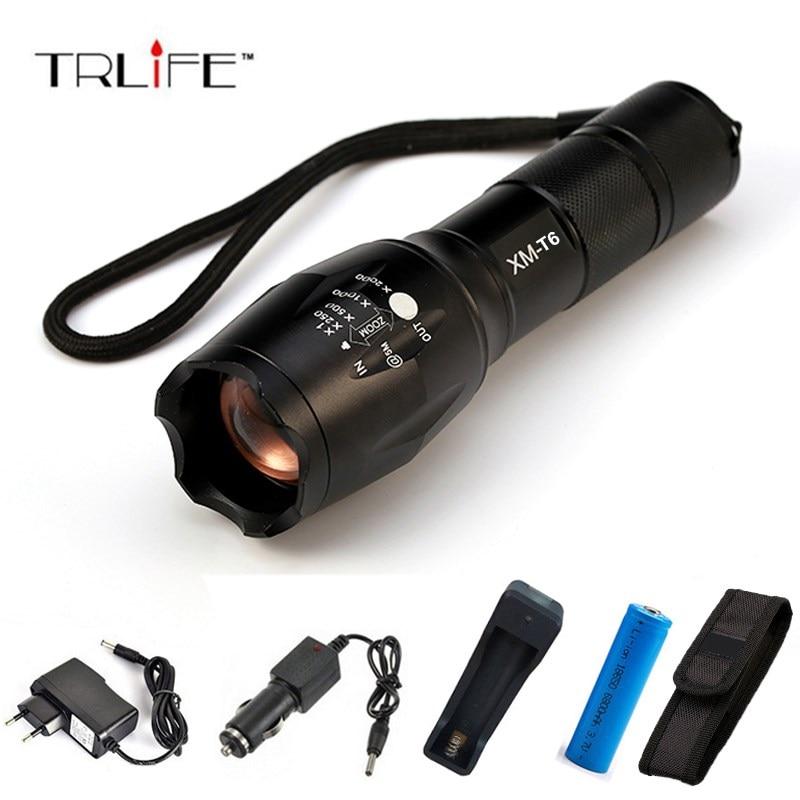 8000 Lumens X900 Flashlight CREE XML T6 Torch High Power Adjustable LED Flashlight +DC/Car Charger+18650 Battery+Holster Holder