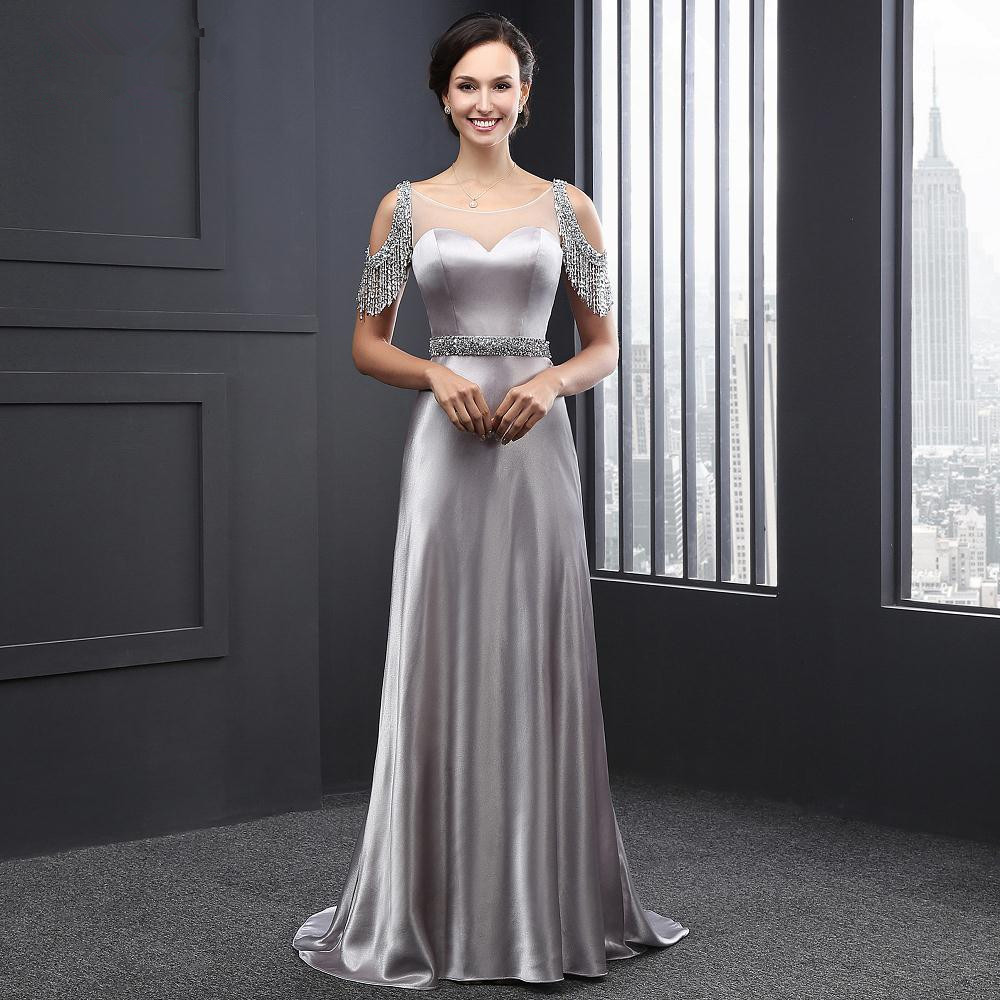 Sweetheart A-line party Gown Luxury Silver Beaded Sashes Backless 2018 Off The Shoulder vestido de noiva   bridesmaid     dresses