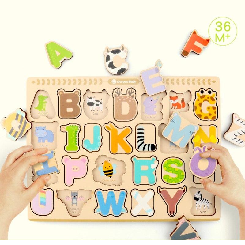 Детская деревянная головоломка игрушки ребенка раннего образовательные буквы, цифры головоломки деревянные игрушки