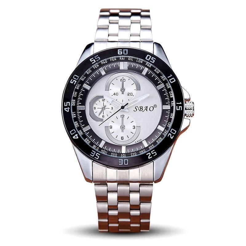 BOUNABAY WATCH Men Fashion Automatic Quartz Big Dial Watch Luxury Analog Waterproof Watch Datajust Business Clock