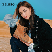 GEMEIQ Genuine Leather and Velvet Short boots Martin boots British Style 2018 Winter new medium flat with easy matching shoes british style men s short boots with buckle strap and ruched design