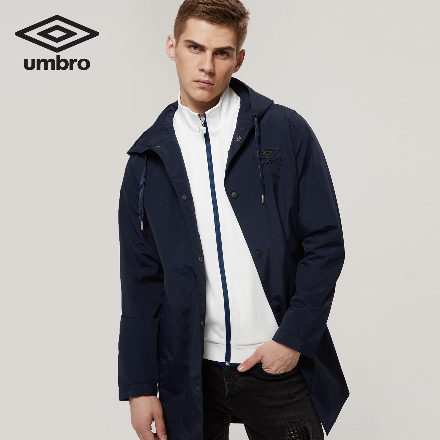Umbro New Men Hooded Windproof Coat Knee Long Sleeve Sports Jacket Zip Up Clothing Sportswear UI173AP2223 sequin embroidered zip up jacket page 2