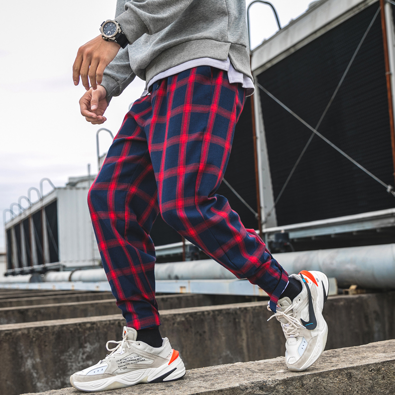 2019 Spring New Casual Men Pants Grid Streetwear Joggers Men Cotton Blended Hip Hop Mens Sweatpants