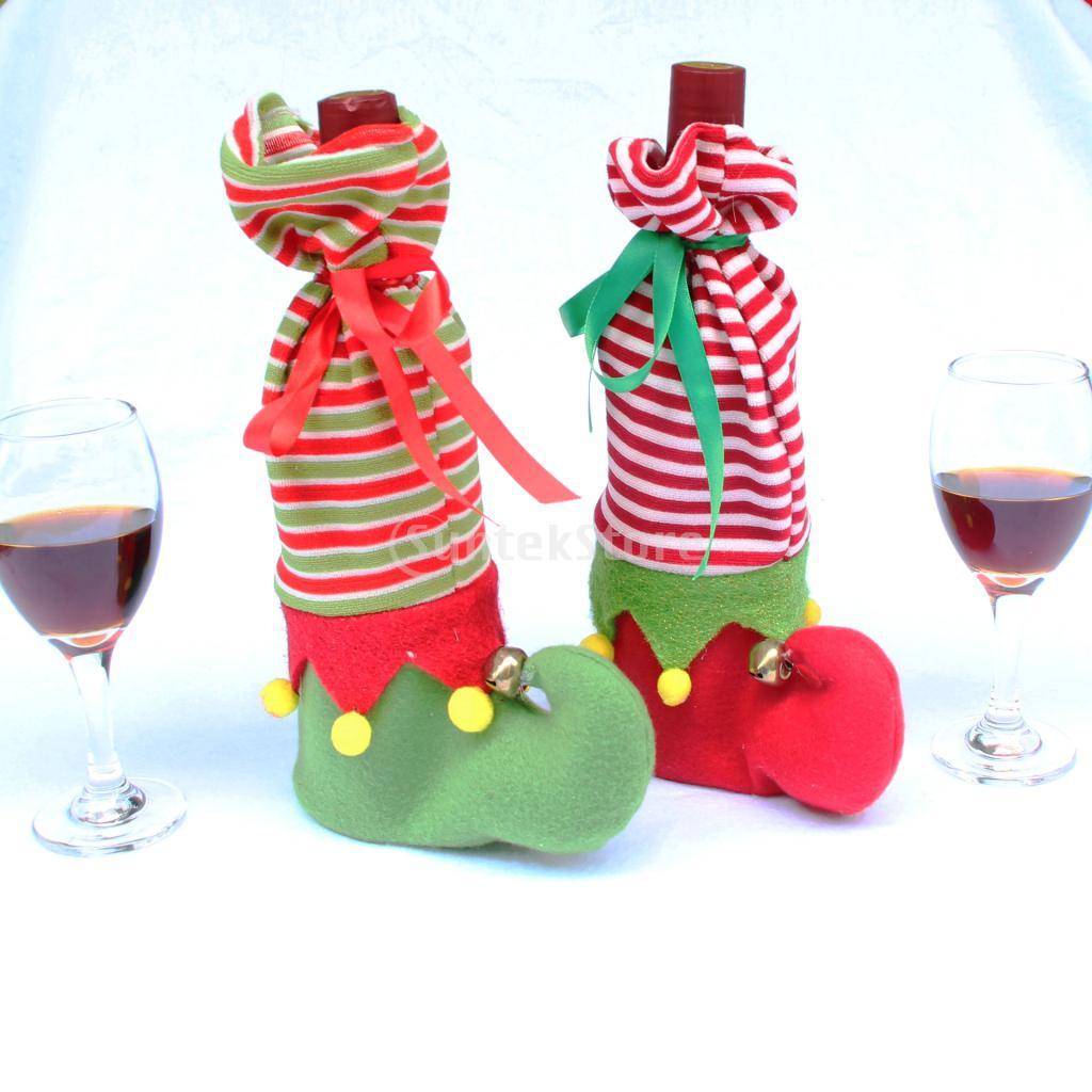 Christmas Striped Stocking Wine Bottle Wrap Cover Bag Gift Case Pouch Green/Red