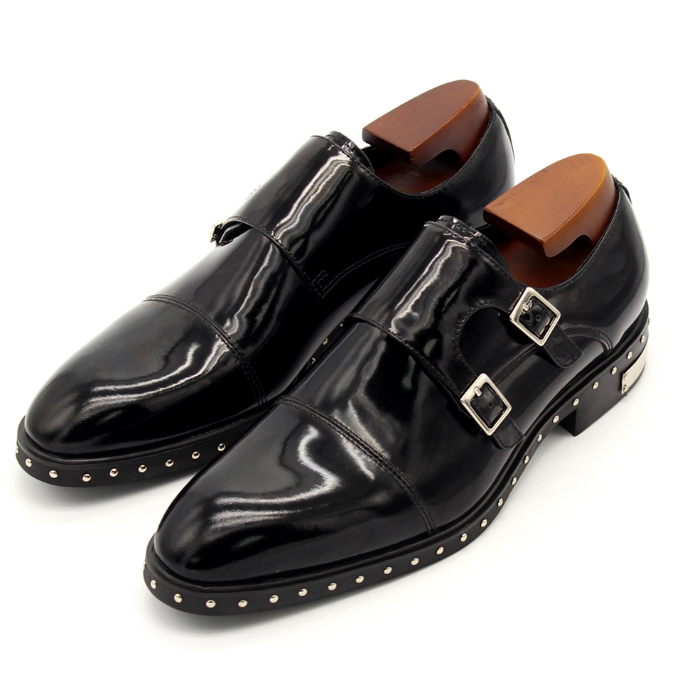 Luxury classic men's monk shoes 2017 top quality black rivets two buckled monk leather shoes fashion men's wedding oxfords EU45 buckled belt detail plaid top