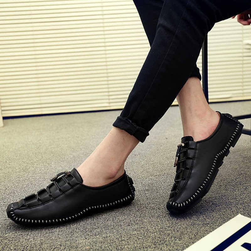 2019 Yaz Erkek ayakkabıları Kauçuk Dantel Bezelye Ayakkabı Ayakkabıları Hafif Nefes kaymaz günlük mokasen ayakkabı Moccasins Erkek Ayakkabi