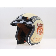 Free shipping 1pcs Route 66 Retro Motorcycle Helmet Harley 3 4 Open Face Vintage Pilot Motorcycle