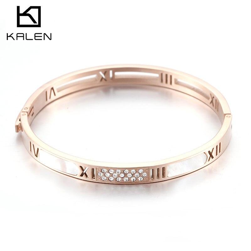 KALEN Simple Rose Gold Stainless Steel Bohemia Bangles Femme Rhinestone & Shell Bangles Bracelets For Women Wedding Jewelry Gift