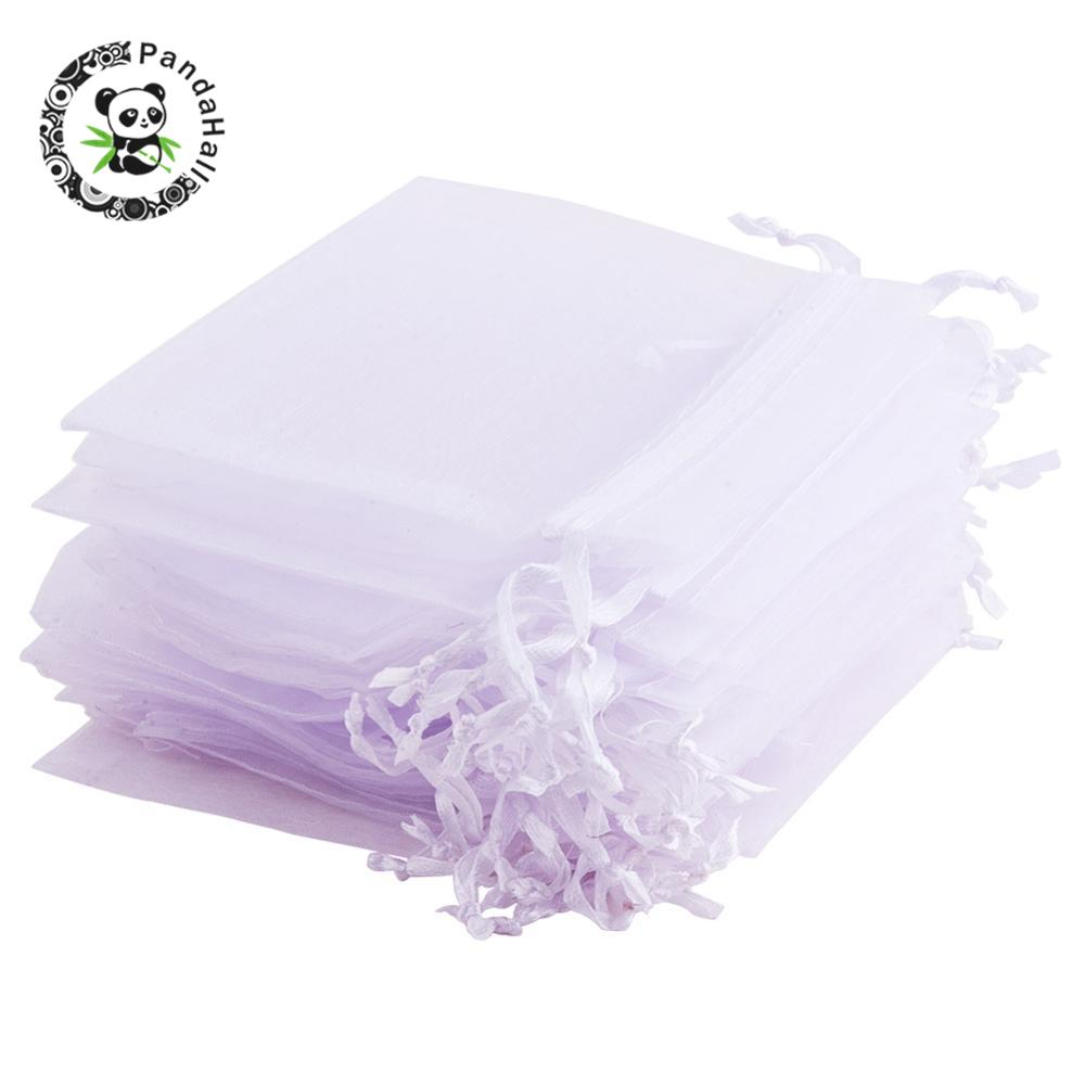 200pcs White Organza Bags Wedding  Party Gift Bags Drawstring Bags For Jewelry Packaging 12x10cm 10x8cm