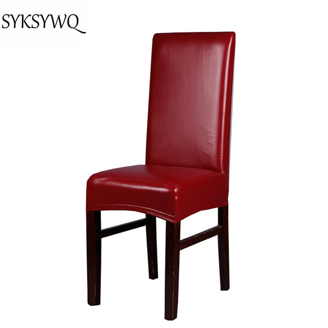 red leather dining chairs oak new arrival office chair cover spandex funda silla oficina drop shipping red leather dining