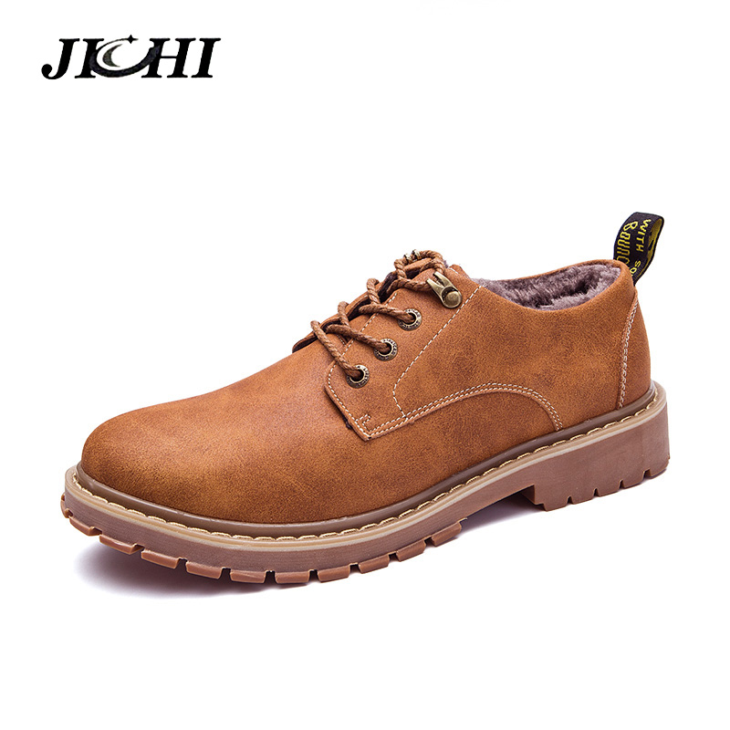 2018 Winter Leather Ankle Boots Men Warm Snow Boots With Fur Men Fashion Leisure Footwear Comfortable Men's Outdoor Work Boots