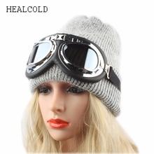 купить Winter Hats For Women Skullies Beanies Men Fashion Warm Cap With Sunglass Unisex Thick Knitted Rabbit Fur Hat по цене 712.1 рублей