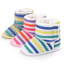 Baby Girls Boots Warm Plush Toddler Winter Shoes Soft Bottom Knitted Cotton  Rainbow Striped Baby Booties · 3 Colors Available f7e88df79864