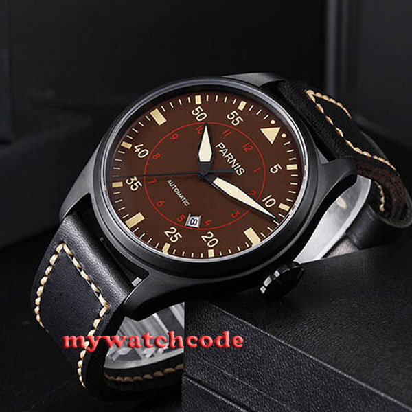 47mm parnis coffee dial date PVD case miyota automatic movement mens watch P367 цена