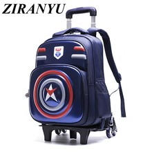 Hot Captain America 3D Student Trolley bag children Six round Climb stairs schoolbag Boys and girls waterproof schoolbag(China)