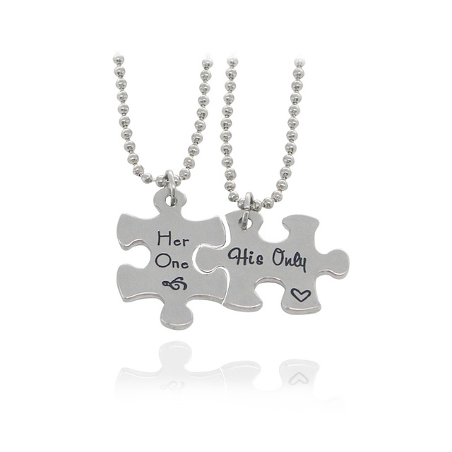 Trendy her one his only couple necklace interlocking jigsaw trendy her one his only couple necklace interlocking jigsaw puzzle pendants necklaces lovers best aloadofball Image collections
