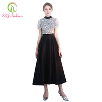New SSYFashion Banquet Elegant Evening Dress The O Neck Black White Color Lace Hollow Simple Tea-length Party Prom Dresses